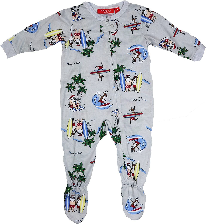 Family PJs Holiday Tropical Santa Footed Pajamas Gray 12 MO