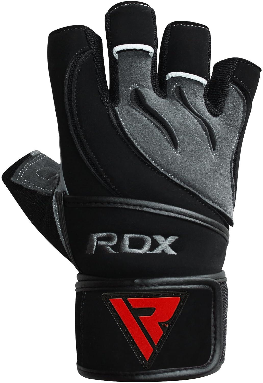RDX Gants de Musculation Poignet workout Crossfit Fitness Entrainement Gymnastique Cuir Vachette Powerlifter Gym Gloves Perméable à lair Halterophilie RDXA8|#RDX