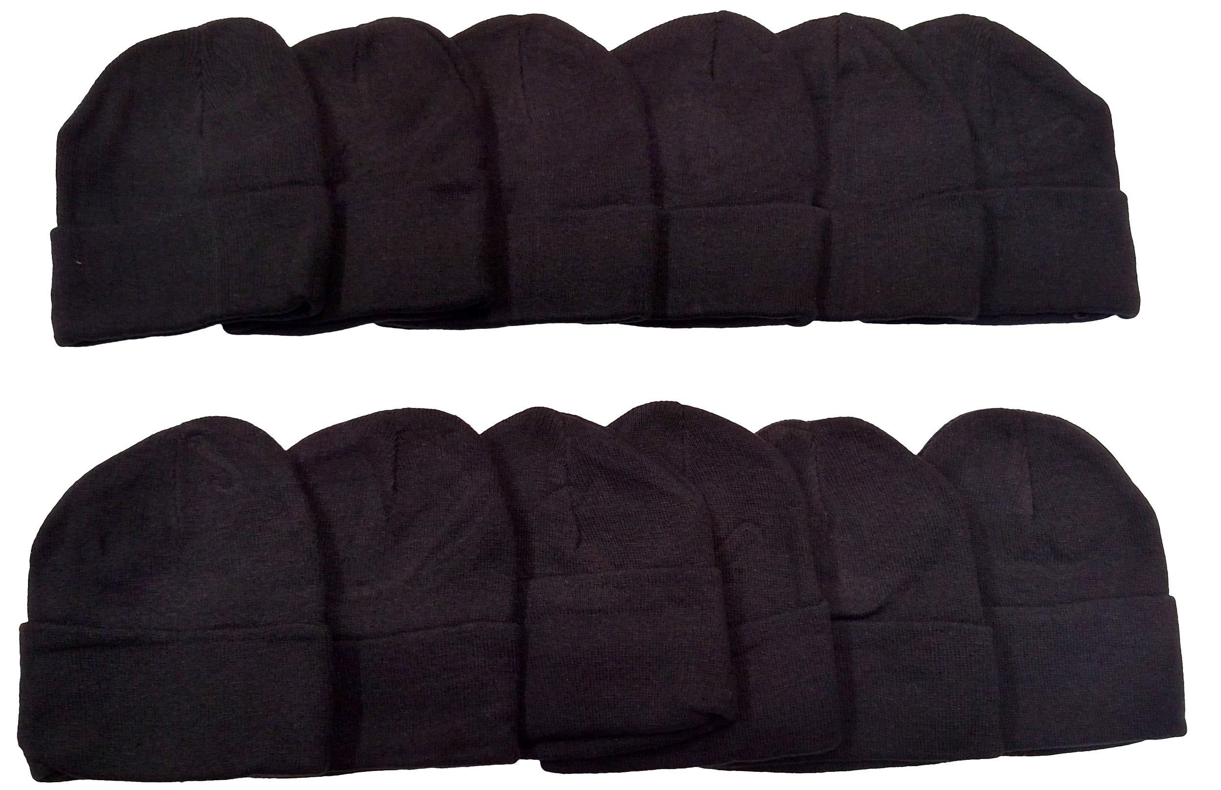 12 Pack Beanie Winter Hats Men Women, Ribbed, Cuff Skullcap Warm Thermal Hat (12 Pack Black)