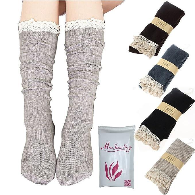 18b4dce0e7c 4 Pairs Women s Lace Trim Boot Socks Cotton Knit Knee High Socks ...