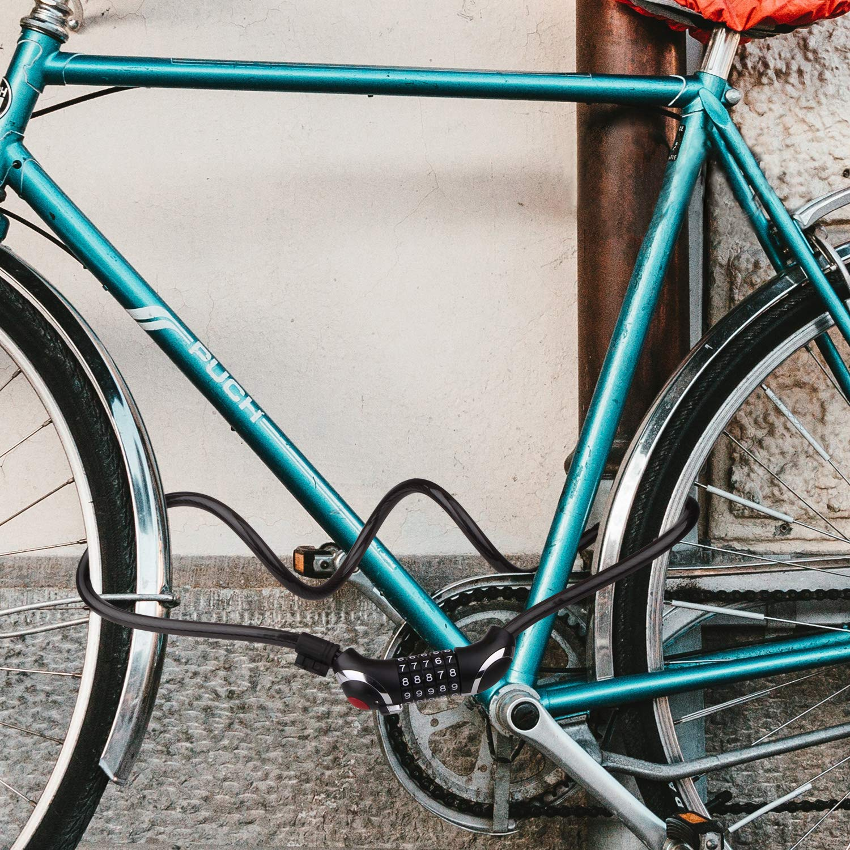 puertas y c ideal para generador BIGLUFU Bike Cable Lock Cerraduras para scooter de bicicleta Cadena extra larga de 4 pies // 120 cm con combinaci/ón de 5 d/ígitos cables de servicio pesado de 0,5 // 12 mm de di/ámetro Trenzado de acero
