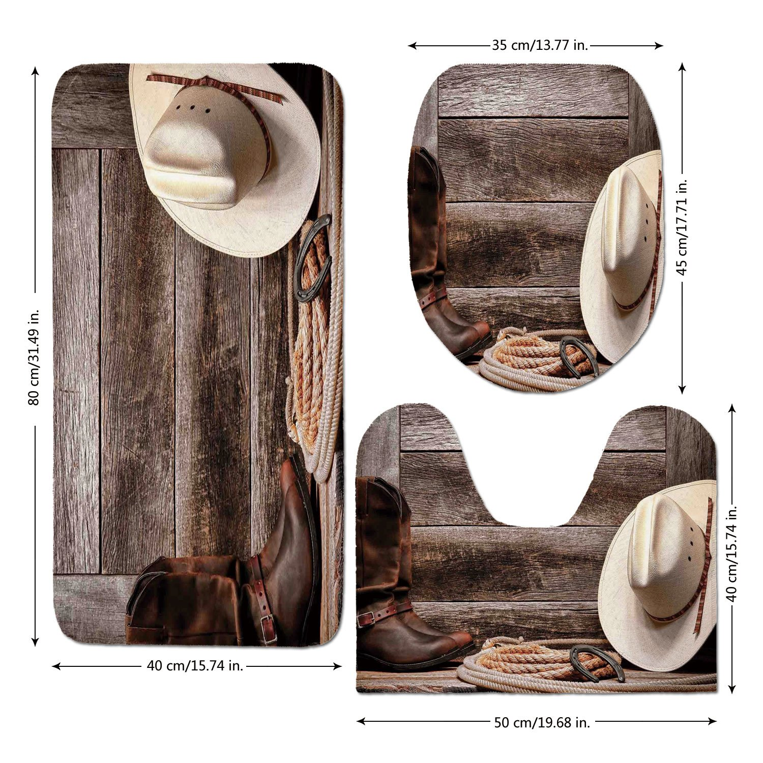 3 Piece Bathroom Mat Set,Western Decor,American West Rodeo White Straw Cowboy Hat with Lariat Leather Boots on Rustic Barn Wood,,Bath Mat,Bathroom Carpet Rug,Non-Slip