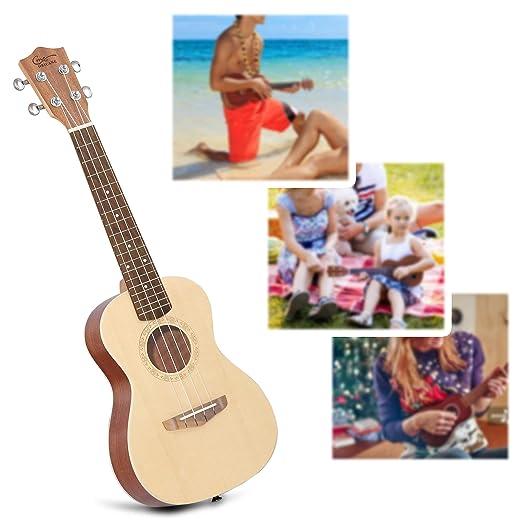 Ukelele Concierto, Hricane Ukelele 23 Pulgadas de Sapele, Veneer Hawaiian Ukulele Con Bolsa de Transporte Estándar y Cuerda de Repuesto, Diferentes tamaños ...
