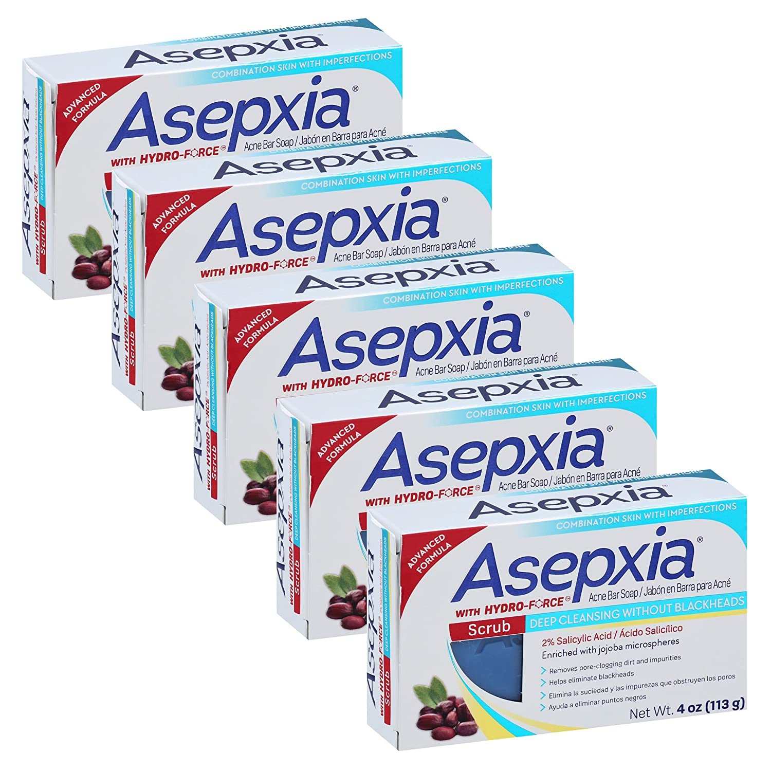 Asepxia Cleansing Bar Scrub, 4 Ounce Multipack (Pack of 5): Beauty