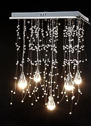 GDNS Modern Crystal Rain Drop Chandelier Pendant Lighting Ceiling Lights Fixtures for Dining Room Bathroom Bedroom Livingroom Restaurant Porch