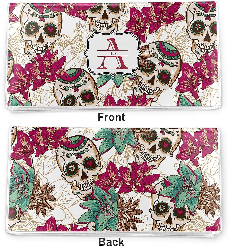Sugar Skulls /& Flowers Vinyl Checkbook Cover Personalized