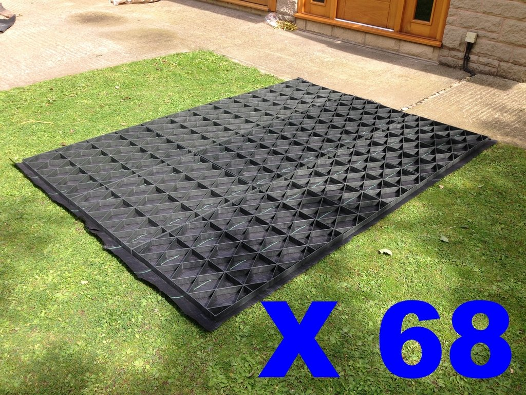 68 SQUARE FEET (SUITS 12X6 FEET SHEDS / GREENHOUSES OR SIMILAR SIZE COMBINATIONS) GARDEN SHED BASE GRID FULL ECO KIT + HEAVY DUTY MEMBRANE PLASTIC ECO PAVING BASES & DRIVE GRIDS