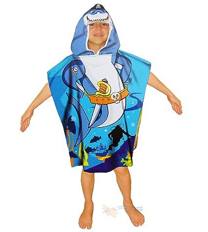100% algodón toalla playa Poncho con capucha para niños infantil de natación shark o Mermaid