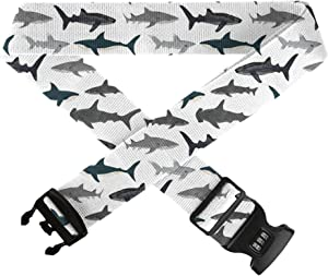 NiYoung Security Luggage Straps Heavy Duty Lock Belt, Anti-Theft Adjustable Suitcase Belts - Shark Silhouette Travel Accessories (1 Pc)