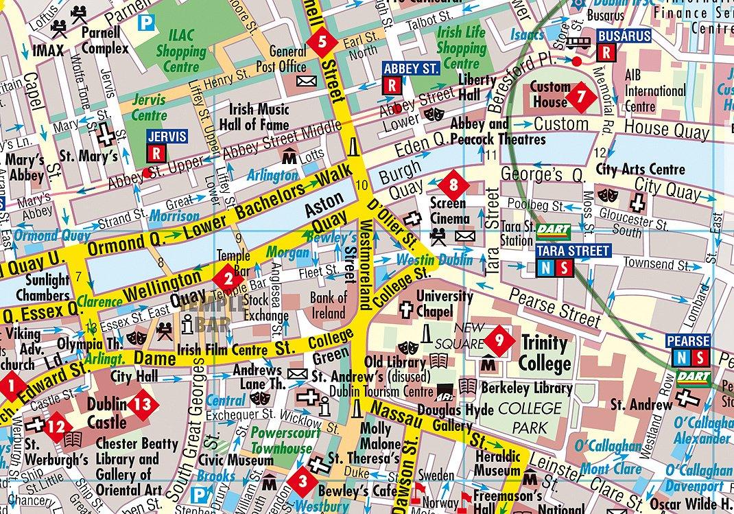 City Map of Dublin, Ireland: Berndtson Maps: 9783865921345: Amazon Dublin City Center Map on
