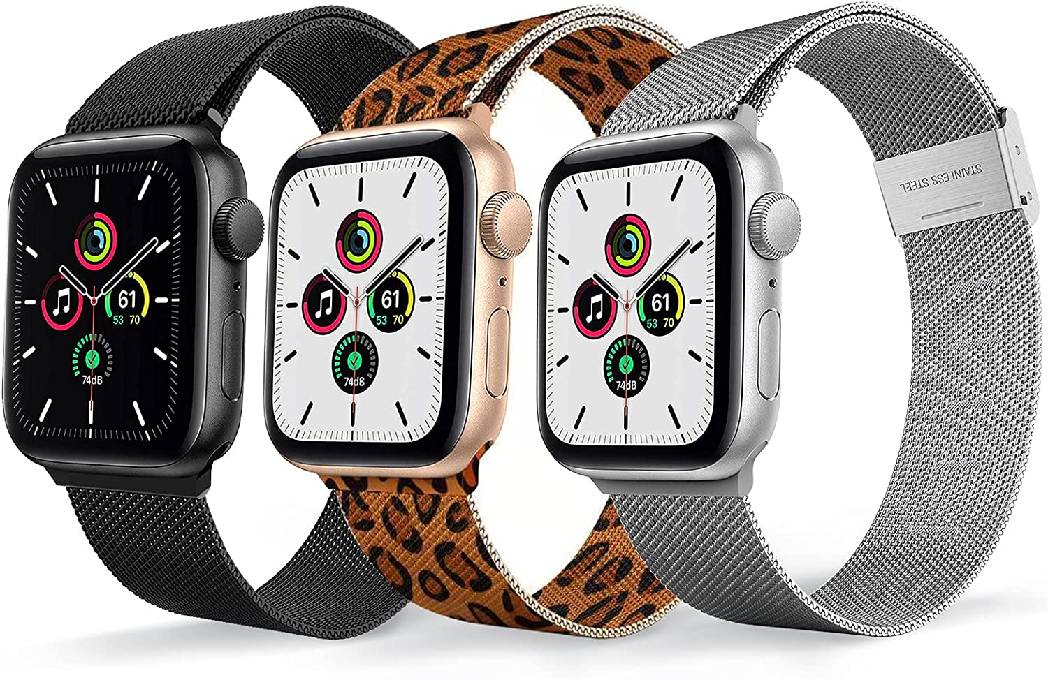 Magnetic Watch Band Compatible for Apple Watch Bands 38mm 40mm 42mm 44mm,3 Pack Replacement Milanese Bands for iwatch Iseries 6 series 3 series SE Women Men, Loop Stainless Steel Mesh Metal Balck Sliver Leopard