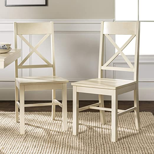 WE Furniture Modern Farmhouse Wood X-Back Kitchen Dining Chairs, Set Of 2,  Antique White