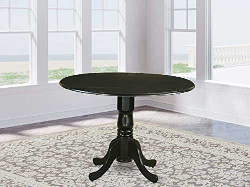 East West Furniture DLT-BLK-TP Dublin Table-Black Table Top Surface and Black Finish Pedestal Legs Hardwood Frame Dining Room Table