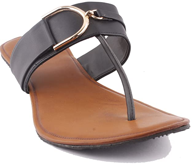 Karat Gold Leather Flats   Classy Ladies Slipers  Formal Ladies Flats   Chappal   Footwear for Ladies   Flats   Slipper for Women Women's Flip-Flops & Slippers at amazon