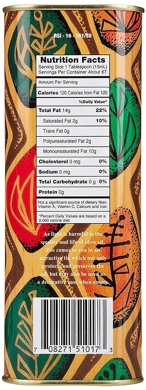 Aceite de oliva extra virgen Zoe, pote de 0.26 galones ...