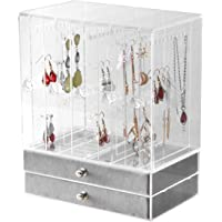 BOCAR Acrylic Jewelry Organizer Box Earring Necklace Transparent Display Storage with Vertical Drawer