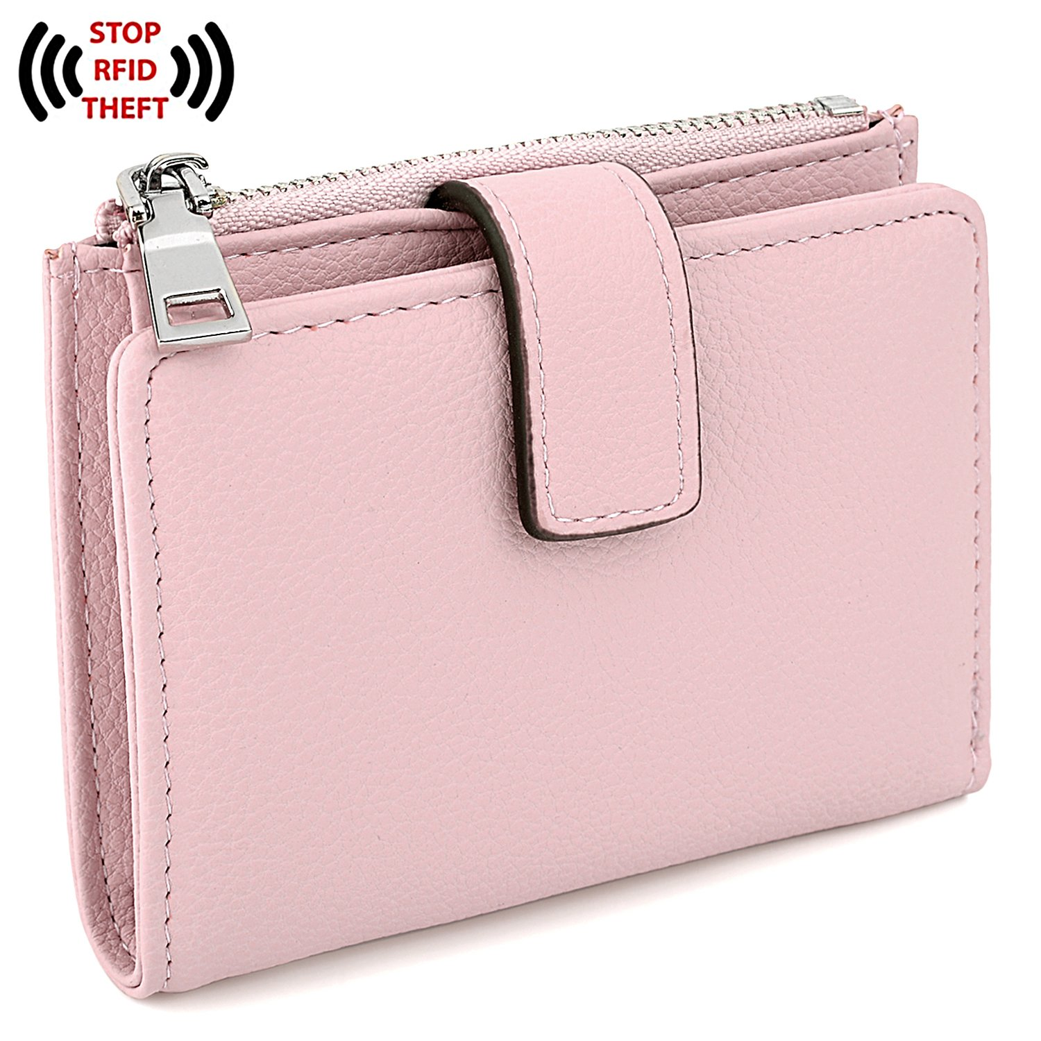 UTO Women's RFID Blocking PU Leather Wallet Card Holder Organizer Girls Small Cute Coin Purse with Snap Closure A Pink