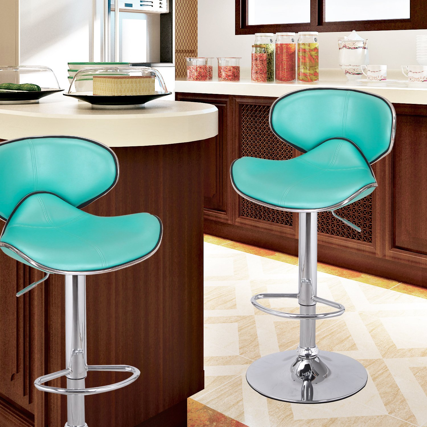 Asense Adjustable Barstool Chair with Saddle back, Leathrette Mordern (Set of Two) (Turquoise)