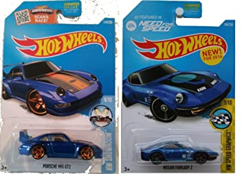 2016 Hot Wheels Porsche 2-Car Set Blue Porsche 993 GT2 and Nissan Fairllady Z