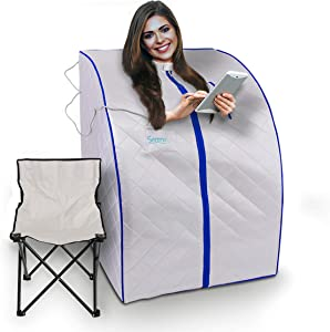 SereneLife SLISAU20SL Oversize Portable Infrared Home Spa   One Person Sauna   with Heating Foot Pad & Portable Chair, Silver
