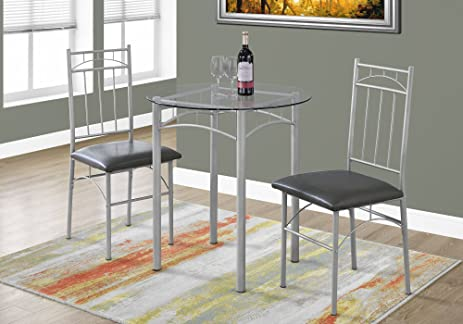 Monarch Dining Set   3Pcs Set / Silver Metal / Tempered Glass