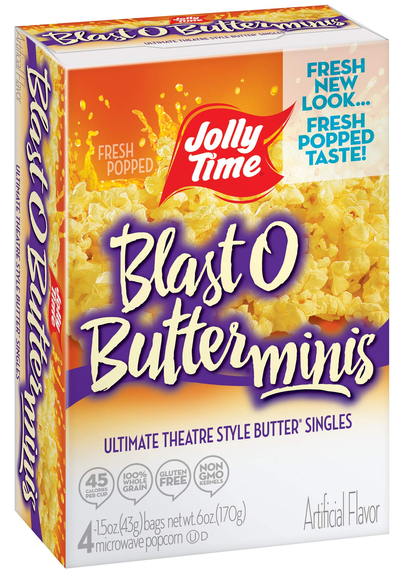 Jolly Time Blast O Butter Movie Theater Microwave Popcorn Mini Bags, 4-Count Boxes (Pack of 12) by Jolly Time (Image #3)