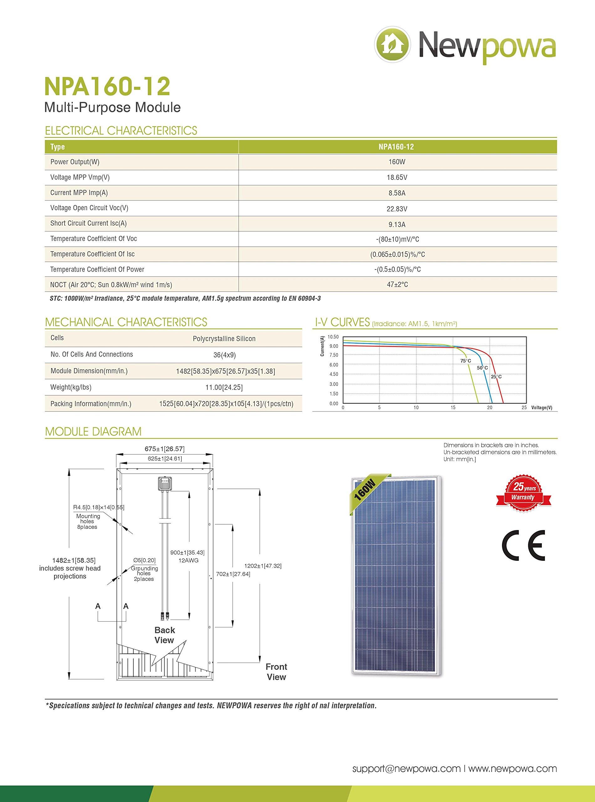 Newpowa 160 Watts 12 Volts Polycrystalline/175 Watts 12 Volts Monocrystalline Solar Panel kit(160W/175W) (160W) by Newpowa (Image #2)