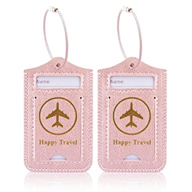 Luggage Tags, ACdream Leather Case Luggage Bag Tags Travel Tags 2 Pieces Set, Rose Gold