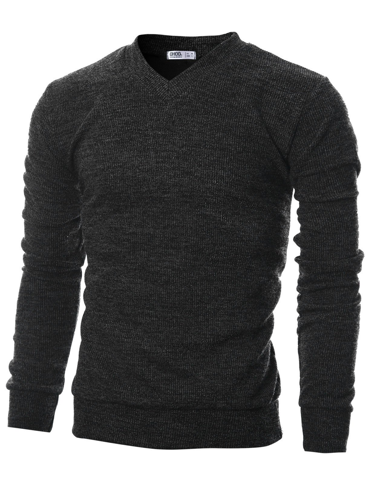 Ohoo Mens Slim Fit Ribbed Fabric Light Weight V-Neck Pullover Sweater/DCP045-CHARCOAL-M