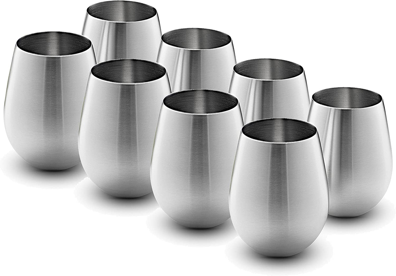 Stainless Steel Wine Glasses - Set of 8 Large & Elegant 18 Oz. Premium Grade 18/8 Stainless Steel Red & White Stemless Wine Glasses, Unbreakable, Portable Wine Tumbler, for Outdoor Events, Picnics