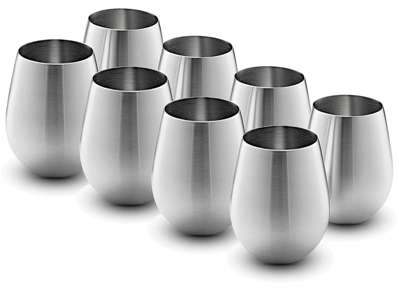 Stainless Steel Wine Glasses - Set of 4 Large & Elegant 18 Oz. Premium Grade 18/8 Stainless Steel Red & White Stemless Wine Glasses, (Set of 4) FineDine FD-S801