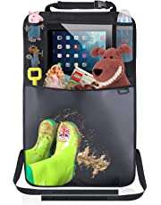 Termichy Auto Rückenlehnenschutz,Trittschutz mit Rücksitz-Organizer,Rücksitzschoner,Kick-Matten-Schutz für Autositz mit Durchsichtigem iPad-Tablet-Halter Wasserdichtes(1 Stück)
