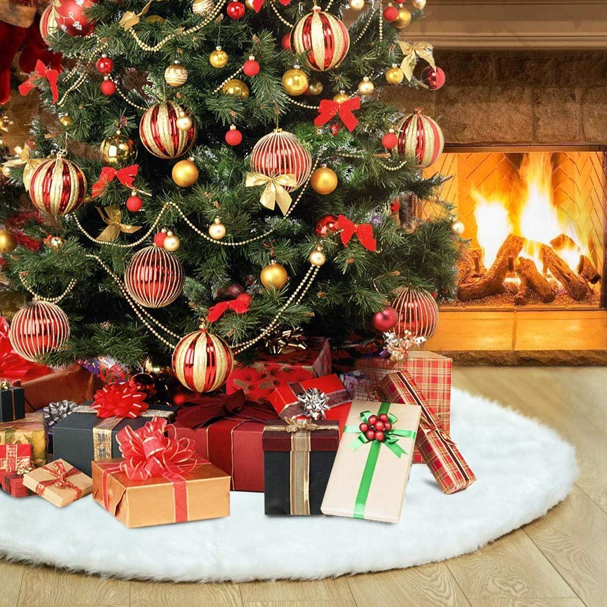 Gudotra 90cm Blanco Falda Decoración para Pie de Árbol de Navidad ...