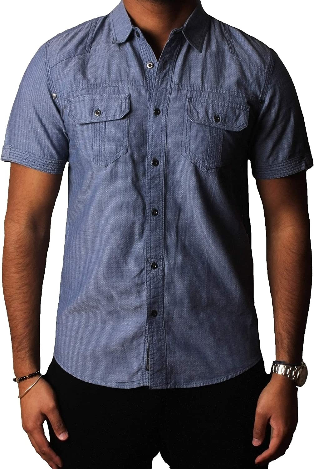 Hombres Camisa DISSIDENT Diseñador Jacquard Chambray Casual ...
