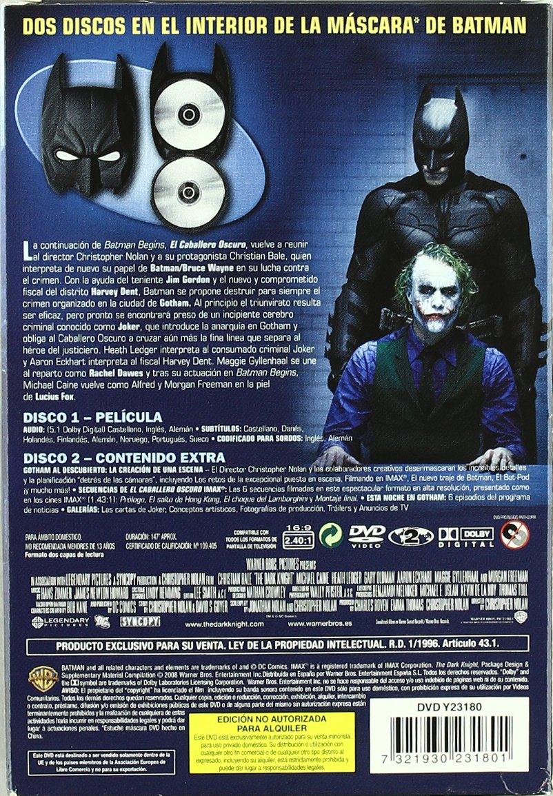 Batman: El Caballero Oscuro (Edición Máscara) [DVD]: Amazon.es: Aaron Eckhart, Heath Ledger, Maggie Gyllenhaal, Michael Caine, Morgan Freeman, Gary Oldman, ...