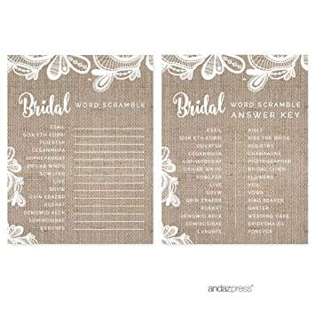 andaz press burlap lace wedding collection wedding word scramble bridal shower game cards 20