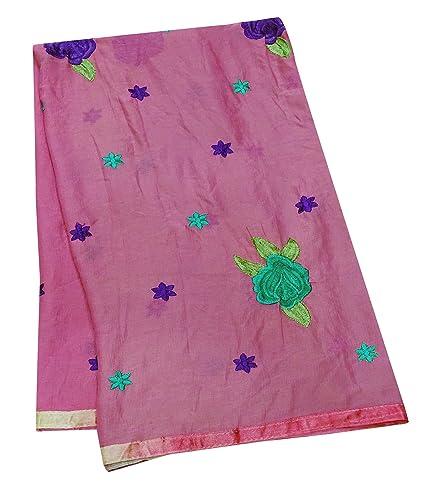 Amazon Com Peegli Vintage Embroidered Stole Pink Chiffon Fabric
