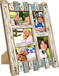 "Excello Global Products Rustic Distressed Wood Frame: Holds Five 4""x6"" Photos: Ready to Hang, Shabby Chic, Driftwood, Barnwood, Farmhouse, Reclaimed Wood Picture Frame (Blue & White)"