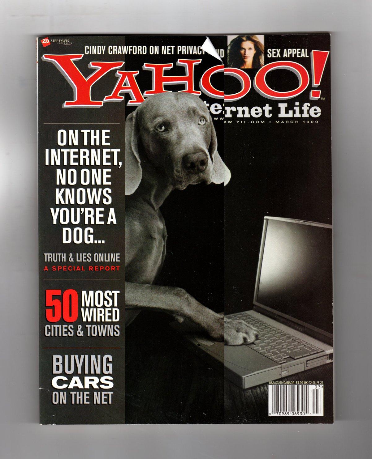 Yahoo! Internet Life Magazine - March 1999. Cindy Crawford on Net ...