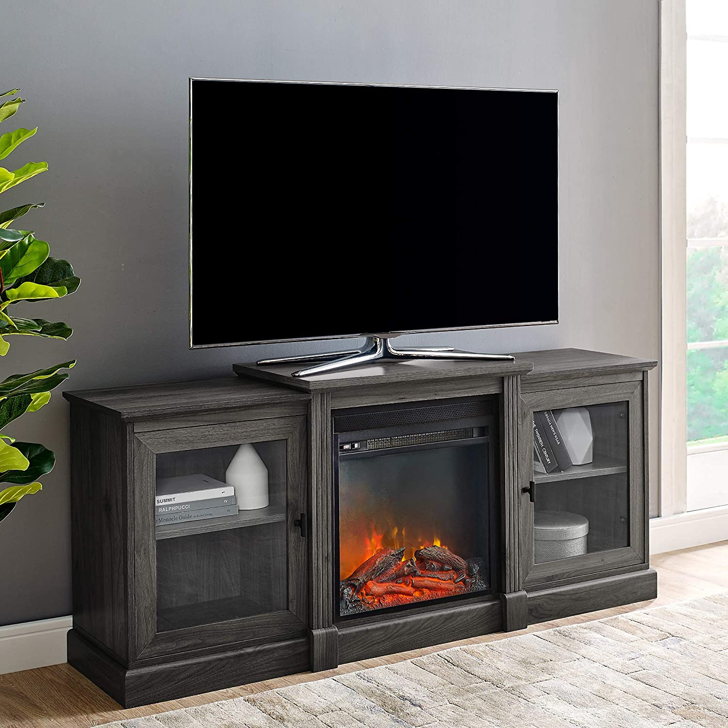 "Walker Edison Furniture Company Modern Wood Fireplace Stand with Cabinet Doors and Drawers 65"" Flat Screen Universal TV Console Living Room Storage Shelves Entertainment Center, 60 Inch, Slate Grey"
