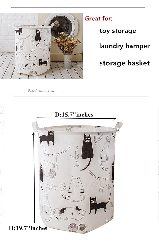 LEELI Laundry Hamper with Handles-Collapsible Canvas Basket for Storage Bin,Kids Room,Home Organizer,Nursery Storage,Baby Hamper,19.7/×15.7 Kitty