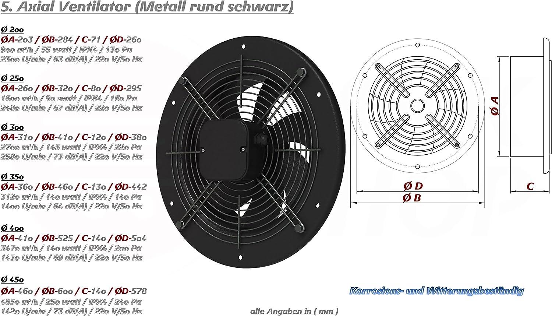 Ventilateur axial radial ultra puissant pour grande pi/èce//maison/ 6 Radial Rohrventilator /Ø /Ventilateur//a/érateur industriel pour air entrant//sortant Disponible dans de nombreuses tailles Ventilateur de toit mur tuyau