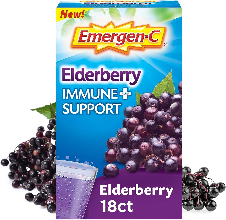 Emergen-C Immune+ Vitamin C 1000mg Dietary Supplement Fizzy Drink Mix Powder Packets, Elderberry, 18 Count