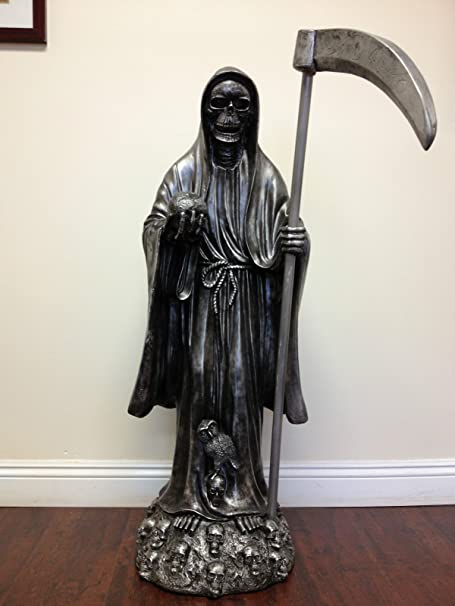 Large Santa Muerte Skull Grim Reaper Black Holy Death skeleton