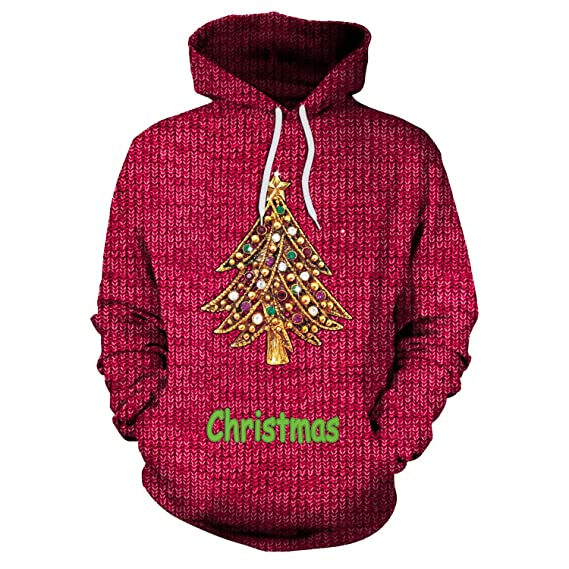 Forenjoy Fashion Hoodies Unisex 3D Digital Print Sweatshirts Christmas Hooded Top Galaxy Pattern Hoodie Big Pockets at Amazon Womens Clothing store: