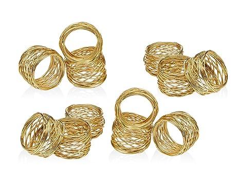 Amazon Set of 12 Gold Round Mesh Napkin Rings Home & Kitchen