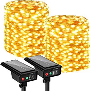 2 Pack Solar String Lights Outdoor, 440 LED Total& 144Ft Ultra Long Solar Fairy Lights 8 Modes Outdoor Solar Starbright Lights Waterproof Copper Wire Light for Tree, Party, Wedding, Home Decoration