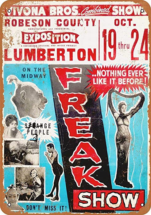 LoMall 8x12 Metal Sign - Carnival Midway Freak Show - Vintage Retro Wall Decor Art
