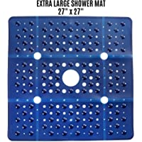"""SlipX Solutions Extra Large Square Shower Mat Provides 65% More Coverage & Non-Slip Traction (27"""" Sides, 100 Suction Cups, Great Drainage)"""