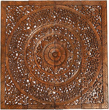 Amazon Com Large Asian Carved Wood Wall Panels Floral Wood Wall
